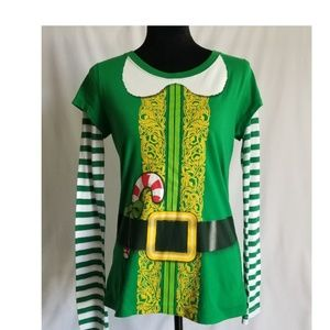 Wound Up Green Elf Shirt with Striped Sleeves